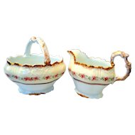 Blakeman & Henderson B & H Limoges Open Sugar and Creamer Scalloped Edges