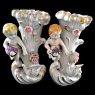 French Porcelain Camille Naudot figural cherub Sweet Meat Dishes.
