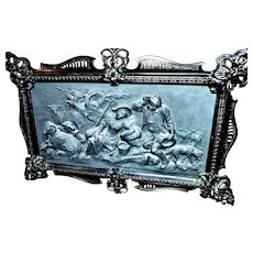 Antique Cast Iron Art Plaque Sheppard Scene in Relief