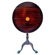 Chippendale Style Tilt Top Tea Table Inlaid Mahogany