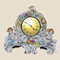 Porcelain Mantle Clock Cherubs Von Schierholtz
