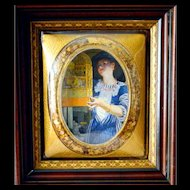 Convex Picture Frame Bubble Glass Antique