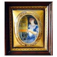 Convex Picture Frame Bubble Glass Antique