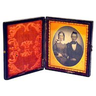 Daguerreotype Young Couple, Nice Face Tinting Full Leather Case ¼ Plate