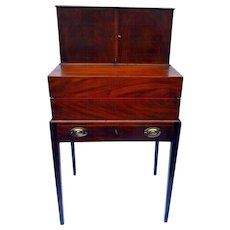 Antique American Sheraton Mahogany Sea Captains Campaign Desk Circa 1830