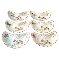 Bone Dishes Limoges France Floral Design Hand Painted (6)