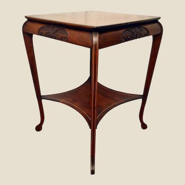 Edwardian Mahogany and Marquetry Side/Lamp Table