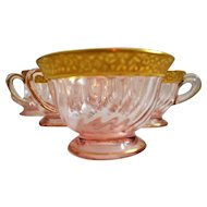 Elegant Depression Pink Encrusted Gold Edge Glass Cups Six