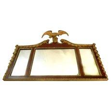 American Federal Style Mahogany Three Panel Mantel Mirror 19th Century