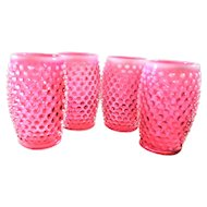 Fenton Cranberry Opalescent Hobnail Tumbler Water Glasses 4