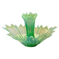 Fostoria Heirloom Green Opalescent Epergne with Single Lilly