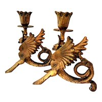 French Gothic Gargoyle Dragon Candle Holders - A Pair