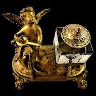 French Inkwell Gilt Gold with Angel Cherub Playing Mandolin Pen Holder