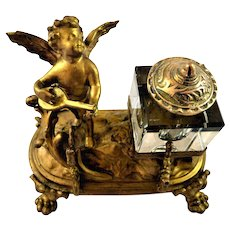 French Inkwell Gilt Gold with Angel Cherub Playing Mandolin Pen Holder