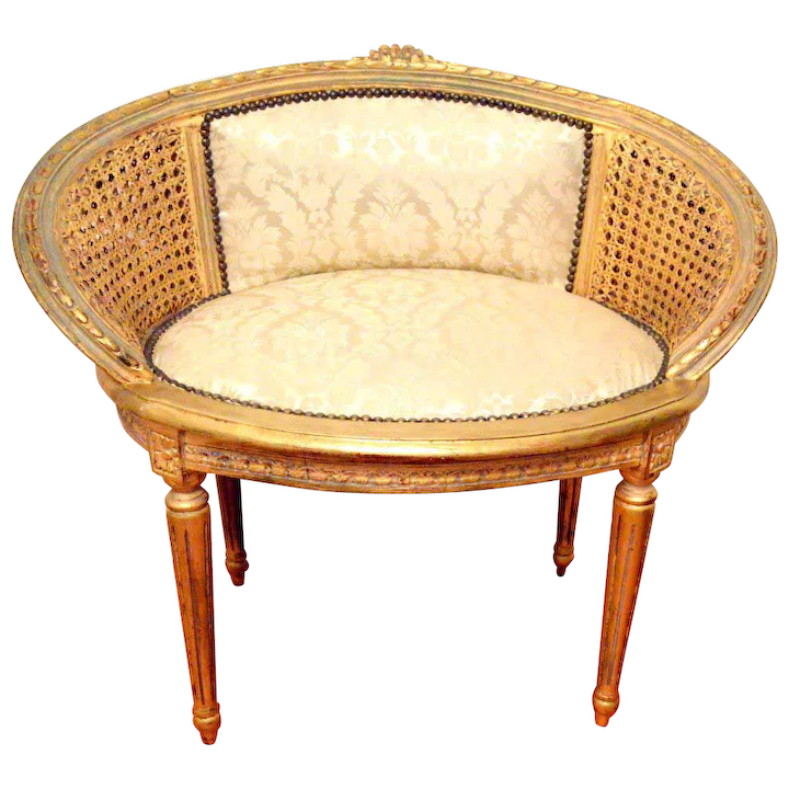 Wondrous French Louis Xvi Cane Back Vanity Barrel Chair Caraccident5 Cool Chair Designs And Ideas Caraccident5Info