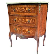 French Marquetry Marble Top Commode