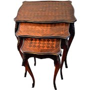 Antique French Nest of 3 Parquetry Top Tables