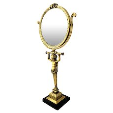 French Popon Bronze Vanity Tilt Mirror Cherub