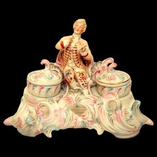 French Double Inkwell / Inkstand Porcelain Figural Gentleman