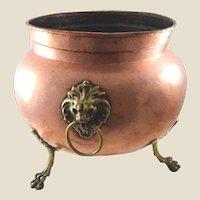 Imperial Russian Jardiniere Copper  w/Lion Head Mounts