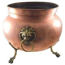 Imperial Russian Jardiniere Copper  w/Lion Head Mounts