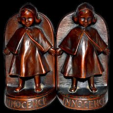 Jennings Brothers Innocence Bronze Clad Figural Bookends