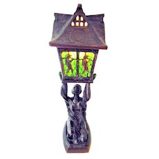 Art Deco Joan of Arc Lamp with Pagoda