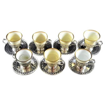 Lenox Demitasse Cups Sterling Silver Plates  Liners Set 7