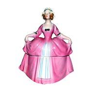 Madame Pompadour Art Deco Powder Jar/Half Doll E & R  Erphila Germany
