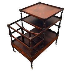 Mahogany End Table Magazine  Canterbury Book Trolley.