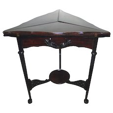 Mahogany Envelope/Game Table with applied Carvings on Side