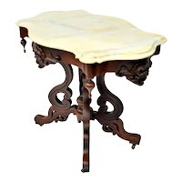 Walnut Victorian Turtle Top Table with Marble Top