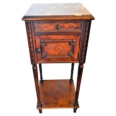 Antique Marble Top Walnut Bedside Commode Table Nightstand