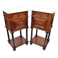 Marble Top End Bed Tables Chestnut