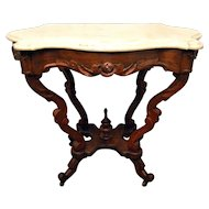 Marble Turtle Top Center Walnut Table