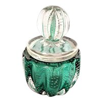 Murano Powder Jar with Lid Controlled Bubbles