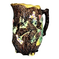 "Majolica Pitcher Wild Roses with Green Leaves 8 5/8"" Tall"
