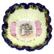 Nippon Hand Painted Porcelain Bowl NPSK  Nippon Porcelain with Flow Blue Rim