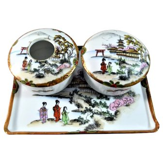 Nippon Vanity Set Hand Painted Geisha Girls Torii 4 Pieces