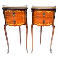 Pair of French Vintage Louis XVI Marquetry Side End Tables