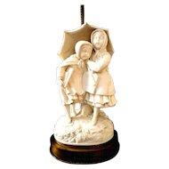 Parian Ware Porcelain Robert Cooke Figurine Victorian Lamp 19th C