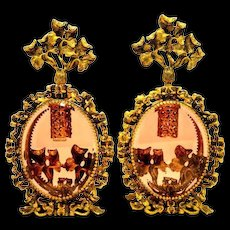 Perfume Bottles 24K Gold Filagree with Floral Glass Daubers Pair