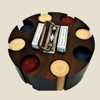 Vintage Art Deco Wooden Poker Chip Carousel Caddy