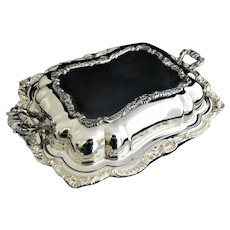 Poole Silver Co Lancaster Rose Silver Plate Footed Covered Dish