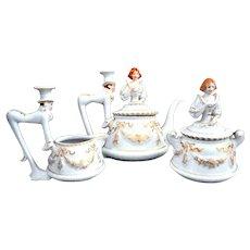 Porcelain Mepoco Luncheon Set Butler Victorian Lady 32Pcs.