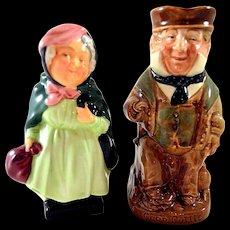 Royal Doulton Cap'n Cuddle Toby Jug Sairey Gamp Figurine Both