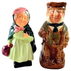Royal Doulton Cap'n Cuddle Toby Jug Sairey Gamp Figurine Both
