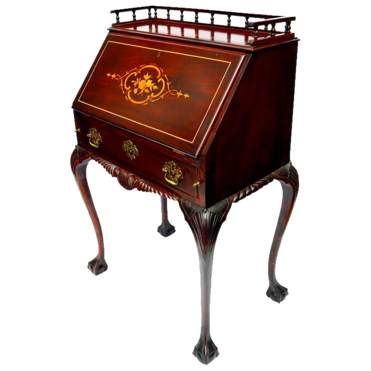 R J Horner Las Drop Front Writing Desk Chippendale Style Ball Claw Feet With Satin Wood