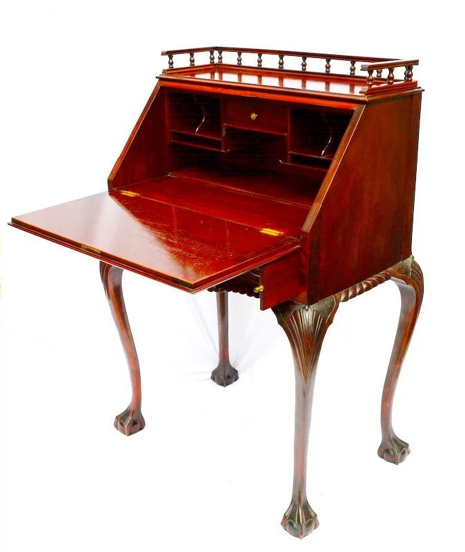 R J Horner Ladies Drop Front Writing Desk Chippendale