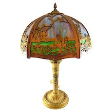 Salem Brothers Slag Glass Table Lamp